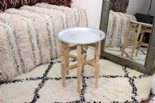 Moroccan Aluminium Tray Side Table Vintage Small  with Cedar Wood Legs Handmade Hand Engraved 38 cm  (Ref. VTT2)